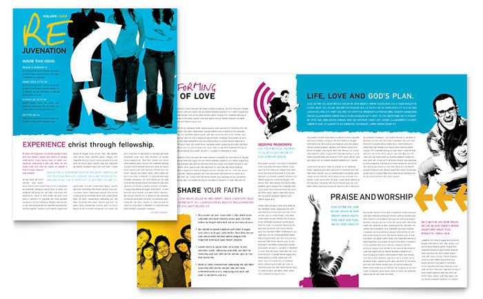 church outreach ministries newsletter design template by stocklayouts - Newsletter Design Ideas