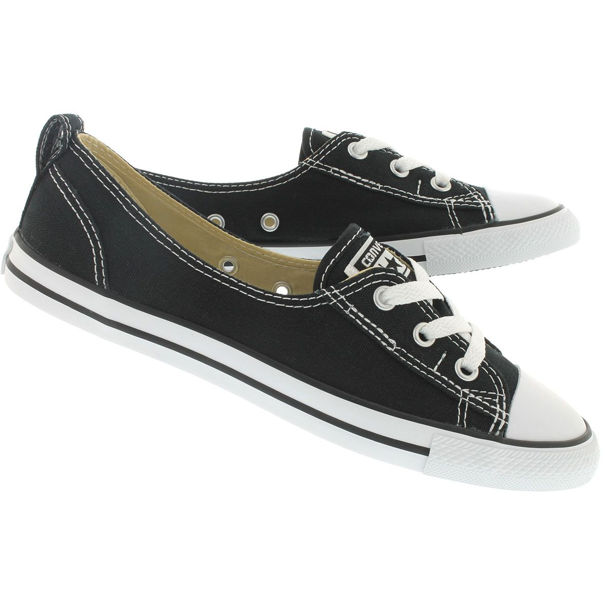 7a6ebd6e1d42 Converse Womens CT ALL STAR BALLET LACE black slip-ons 547162C
