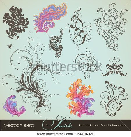 Vector Set: Swirls   Variety Of Handdrawn Floral Design Elements In Different  Styles   Buy This Stock Vector On Shutterstock U0026 Find Other Images.
