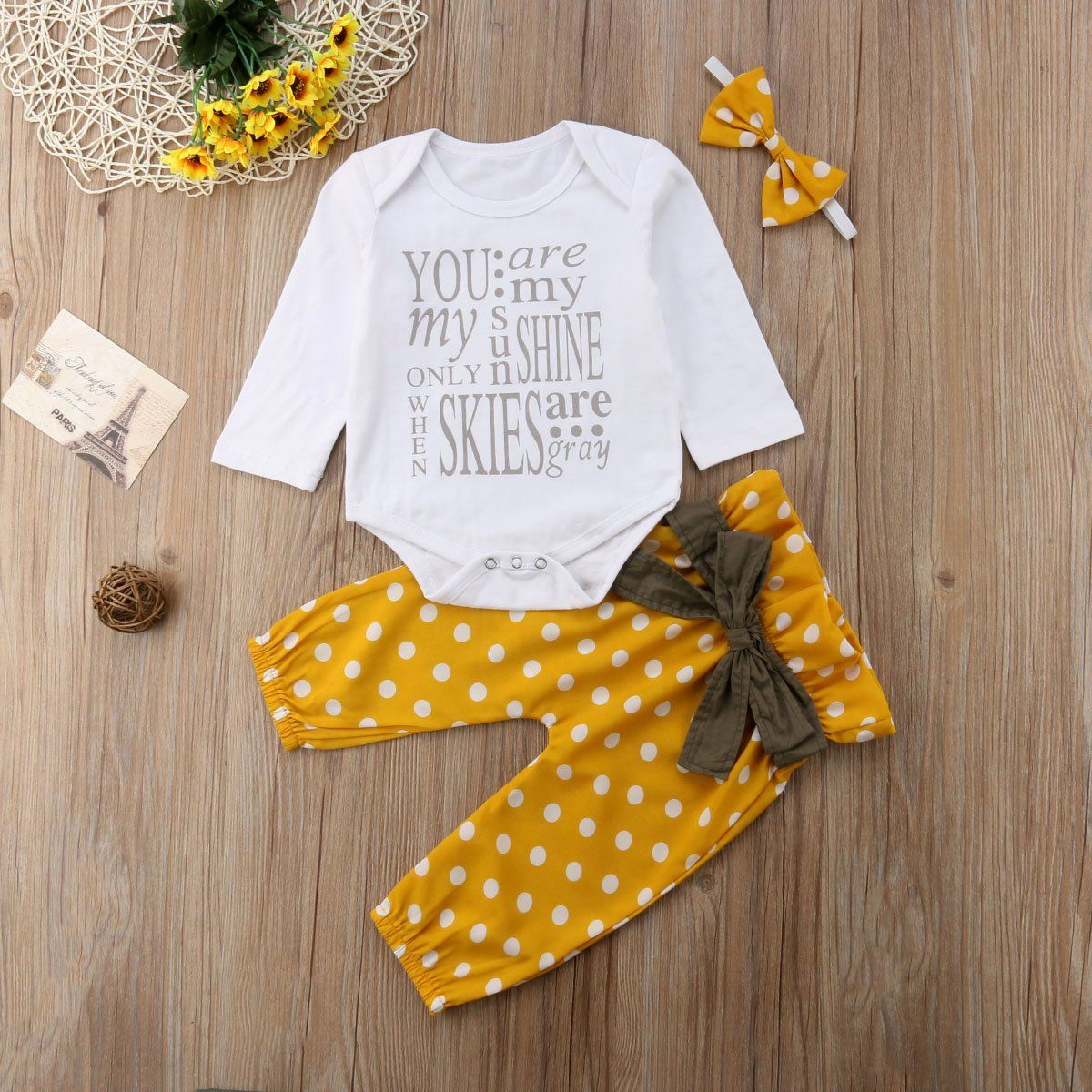 0708db90d You Are My Sunshine Romper + Pants + Headband | Baby outfits and ...