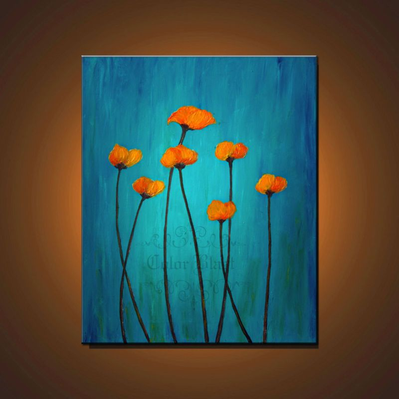 Aqua green and orange canvas art orange flowers on teal aqua