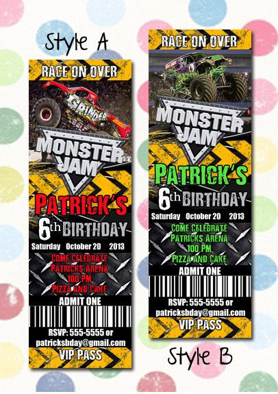 Monster Jam Monster Trucks Birthday Party Invitation Ticket Style