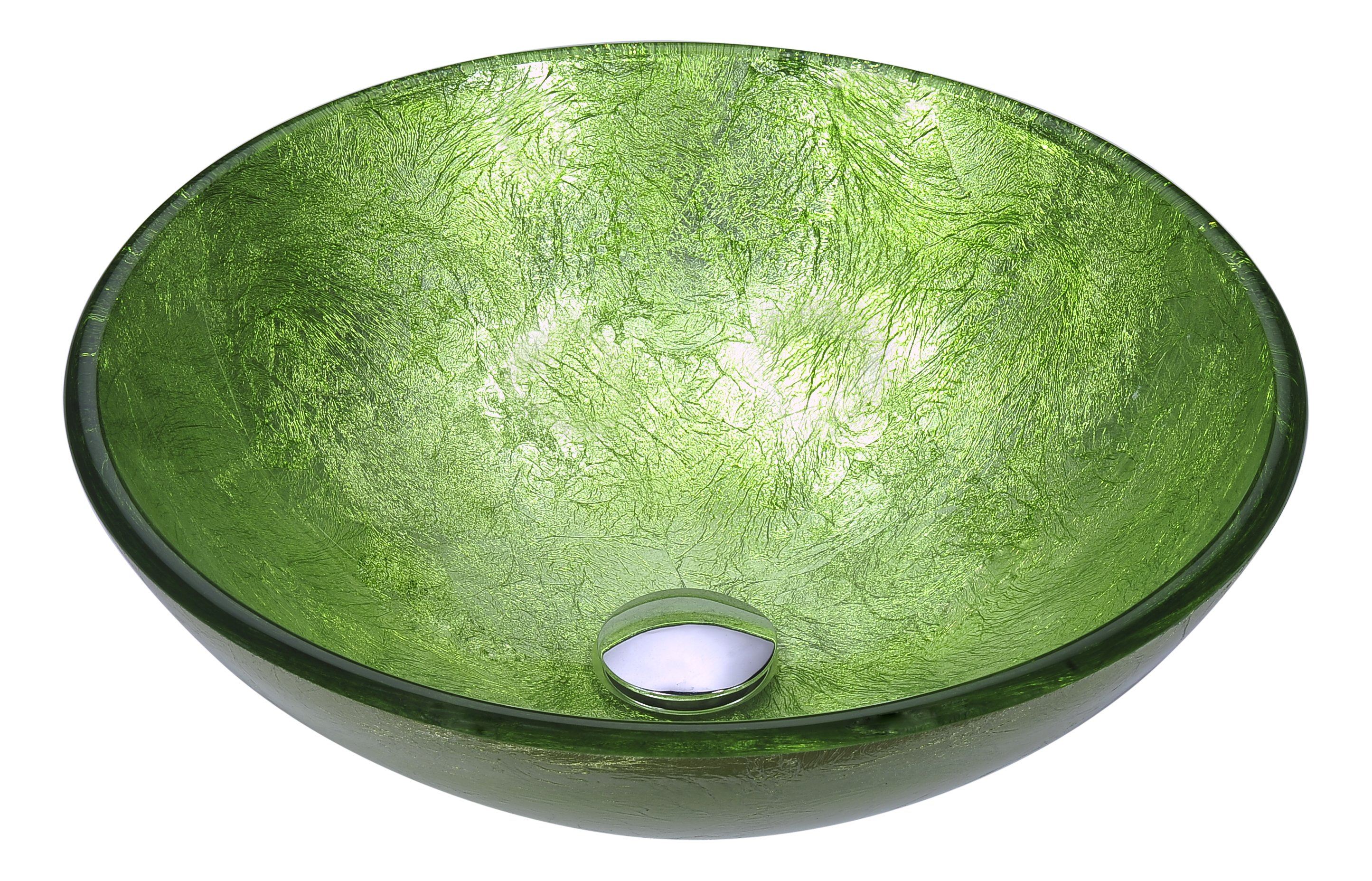 16 Posh Series Deco Glass Vessel Sink In Golden Green Ls Az290