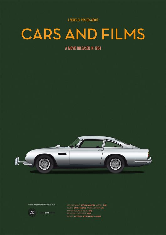Goldfinger (1964) ~ Minimal Movie Poster by Jesus Prudencio ~ Cars and Films Series