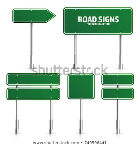 Road Green Traffic Sign Blank Board With Place For Text Mockup Isolated On White Information Sign Direction Vector Traffic Signs Vector Illustration Signs