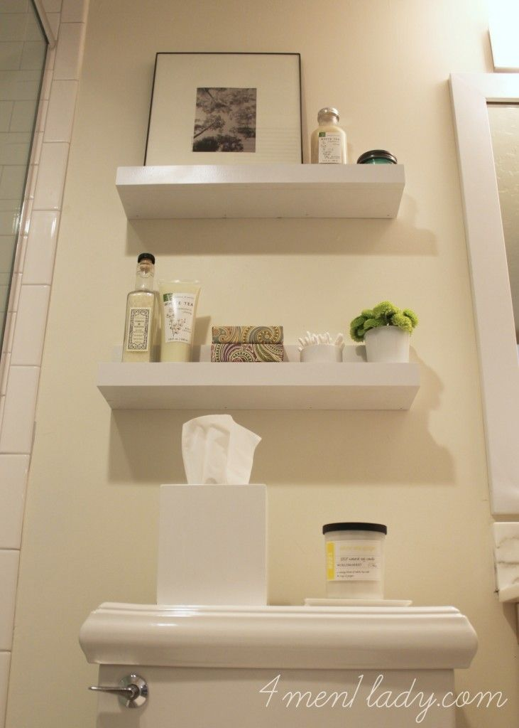 DIY Shelves For A Bathroom. 4men1lady.com