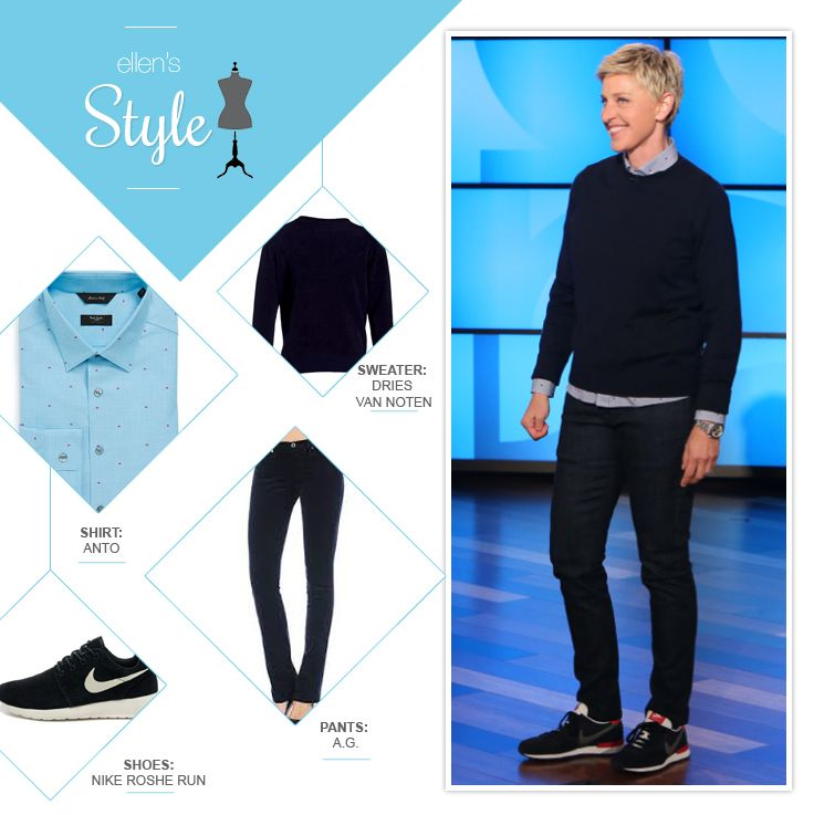 Ellen S Look Of The Day Navy Sweater Blue Button Up Shirt Jeans