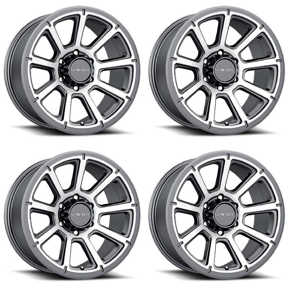 Set 4 16 Vision 353 Turbine Gunmetal Machined Wheels 16x8 6x5 5 0mm Gmc 6 Lug Custom Wheels Cars Lifted Jeep Wheel Rims