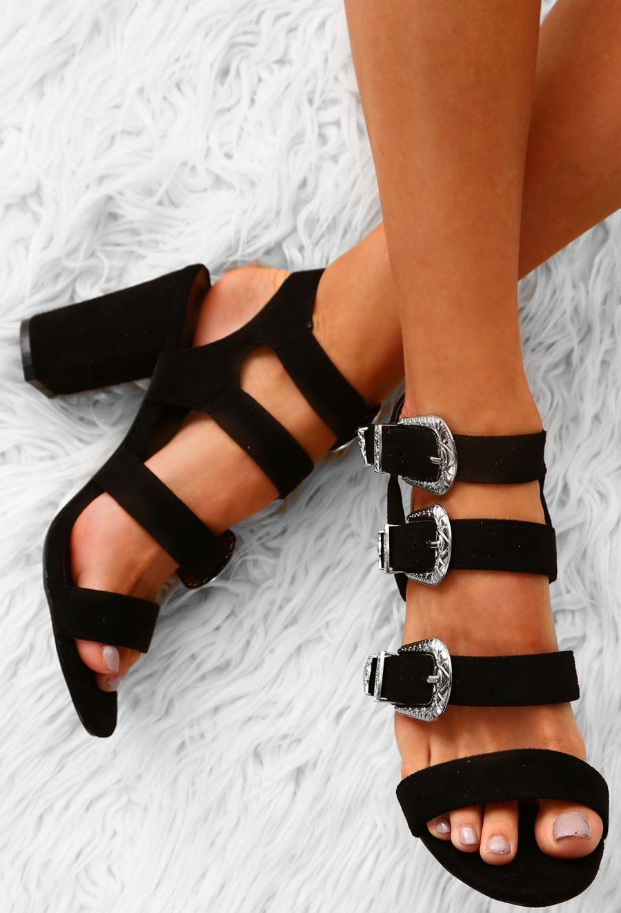 d2336180406 Go Rogue Black Faux Suede Multi Buckle Block Heels - UK 3 | style ...