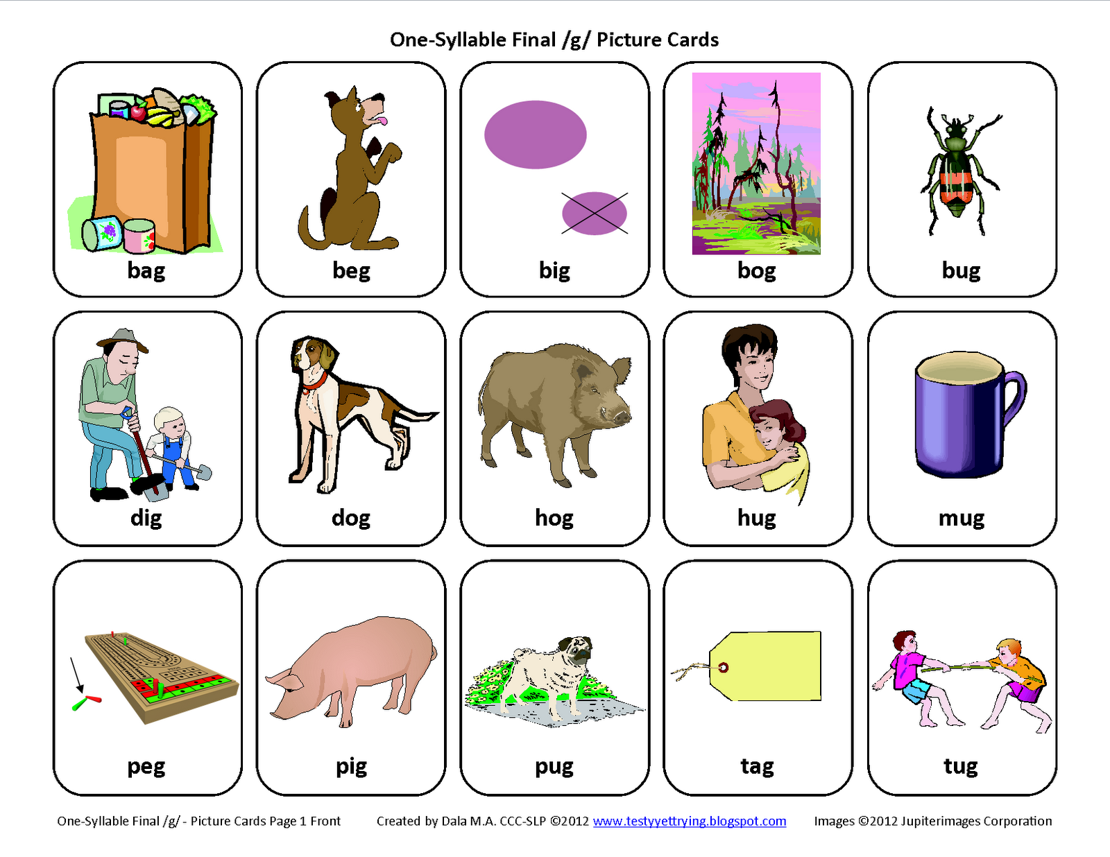 Final G Free Speech Therapy Articulation Picture Cards