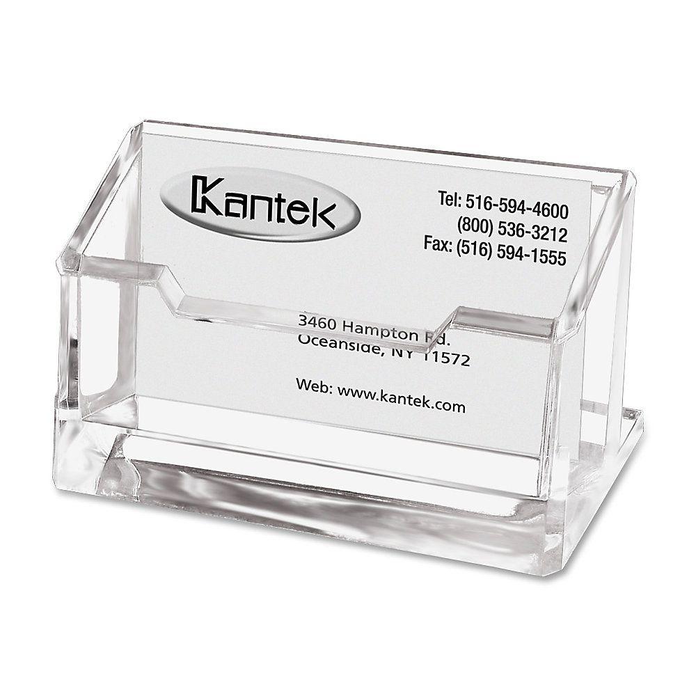 kantek acrylic business card holder 2 x 2 38 x 4 14 clear