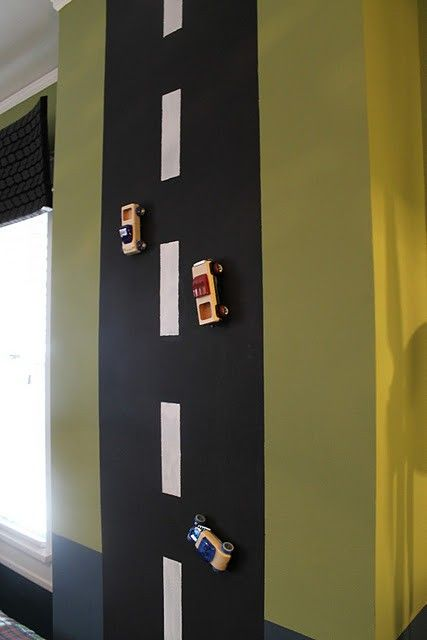 For a boys room - magnetic paint turned into a road to play with toy cars! - Click image to find more hot Pinterest pins