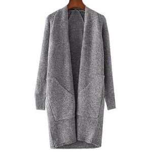 Rotita Solid Grey Pocket Design Long Cardigan | Fall Styles ...