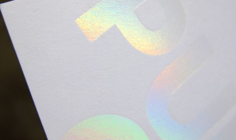 iridescent foil holographic rainbow stamp business card logo