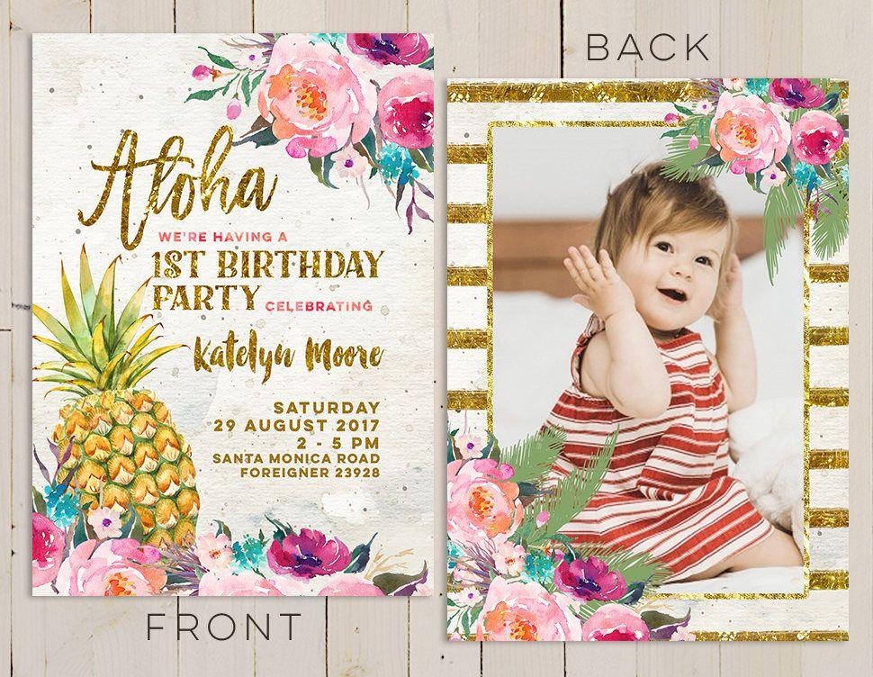 aloha pineapple first birthday invitation, hawaiian first