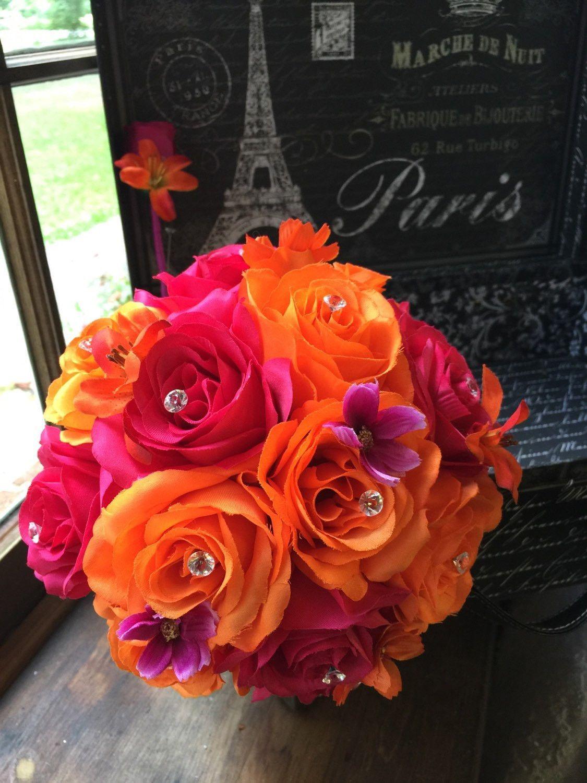 Orange Hot Pink Wedding Bouquet With Boutonniere Pink Orange