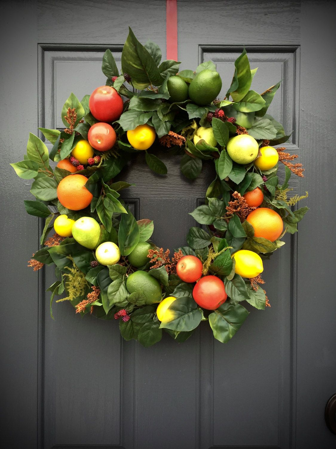 Fruit wreath apple orange lemon lime pear wreath fruit for Fruit orange decoration
