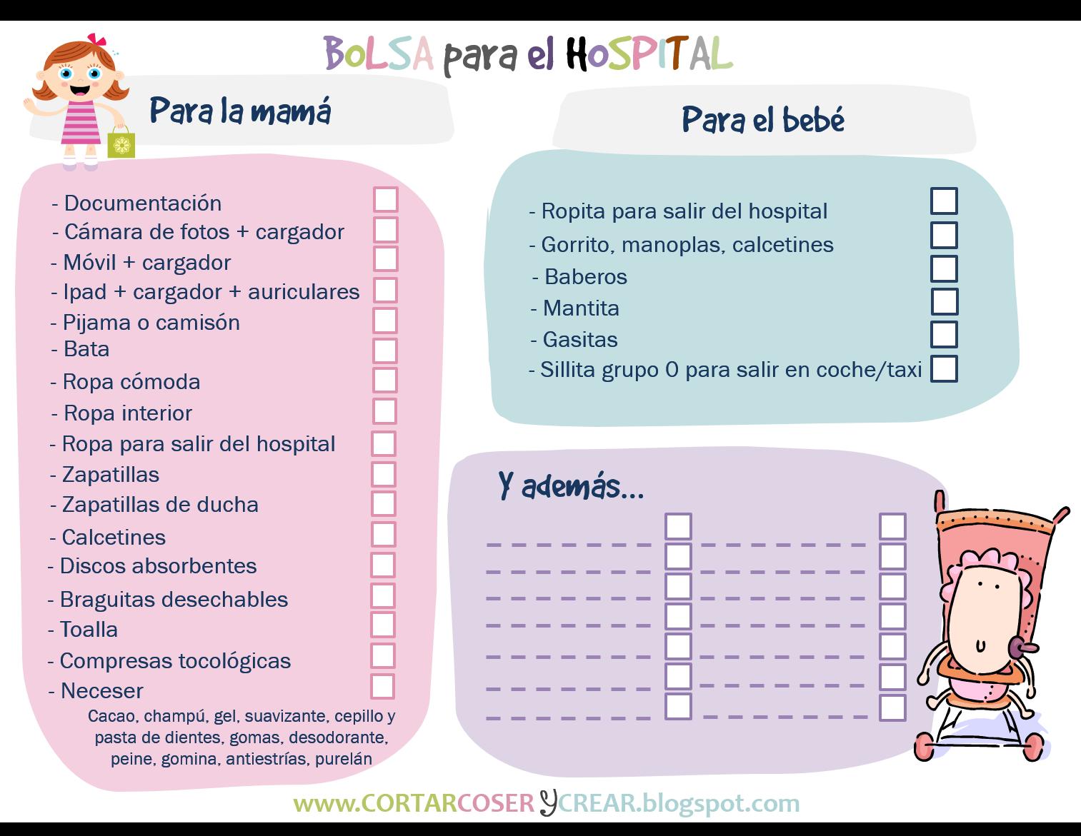 682121138 Imprimible bolsa qué llevar hospital parto