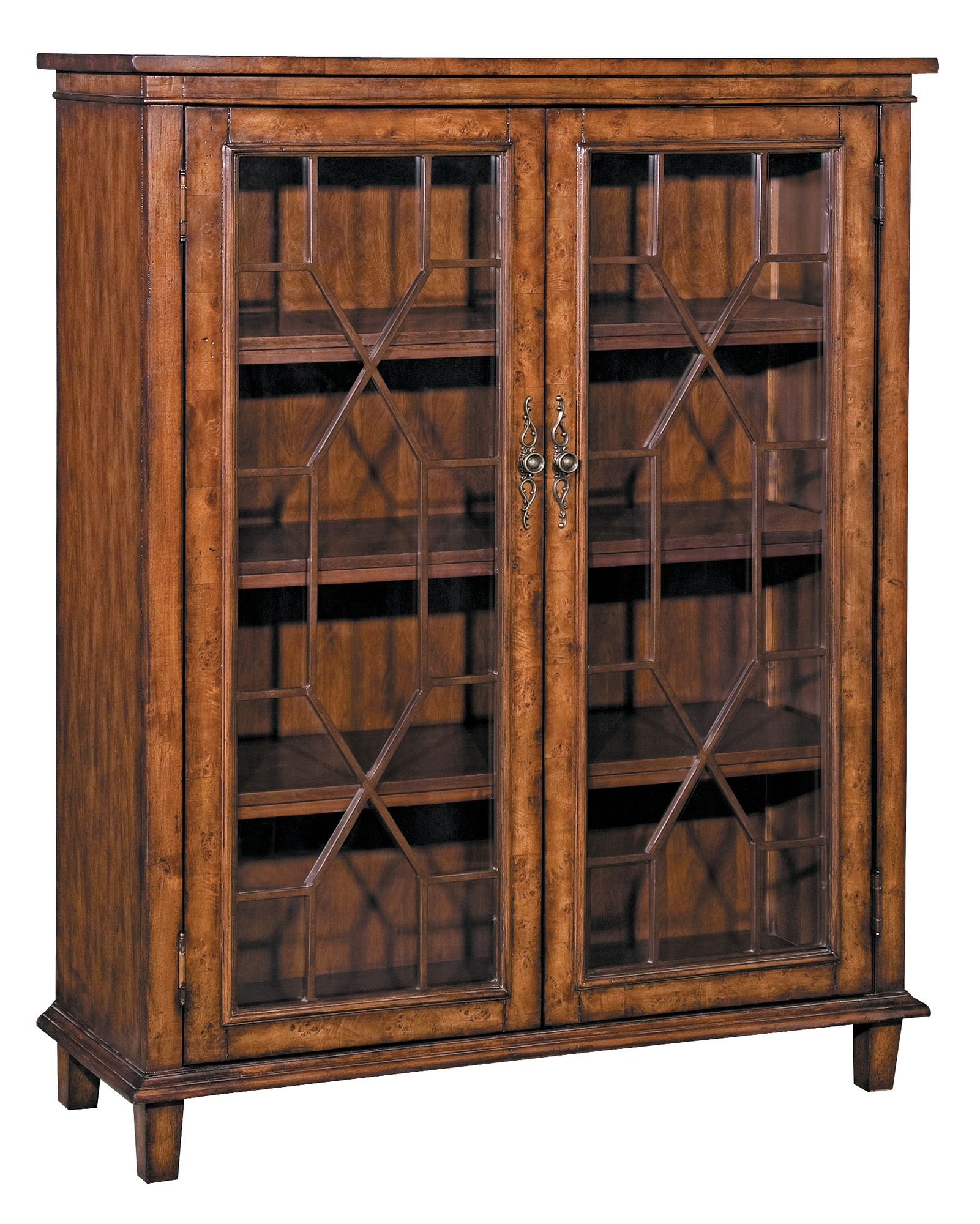 Chippendale standard bookcase house two door bookcase with burl inlay and latticework panels product bookcase construction material wood wood veneers burl wood and glass color warm planetlyrics Image collections