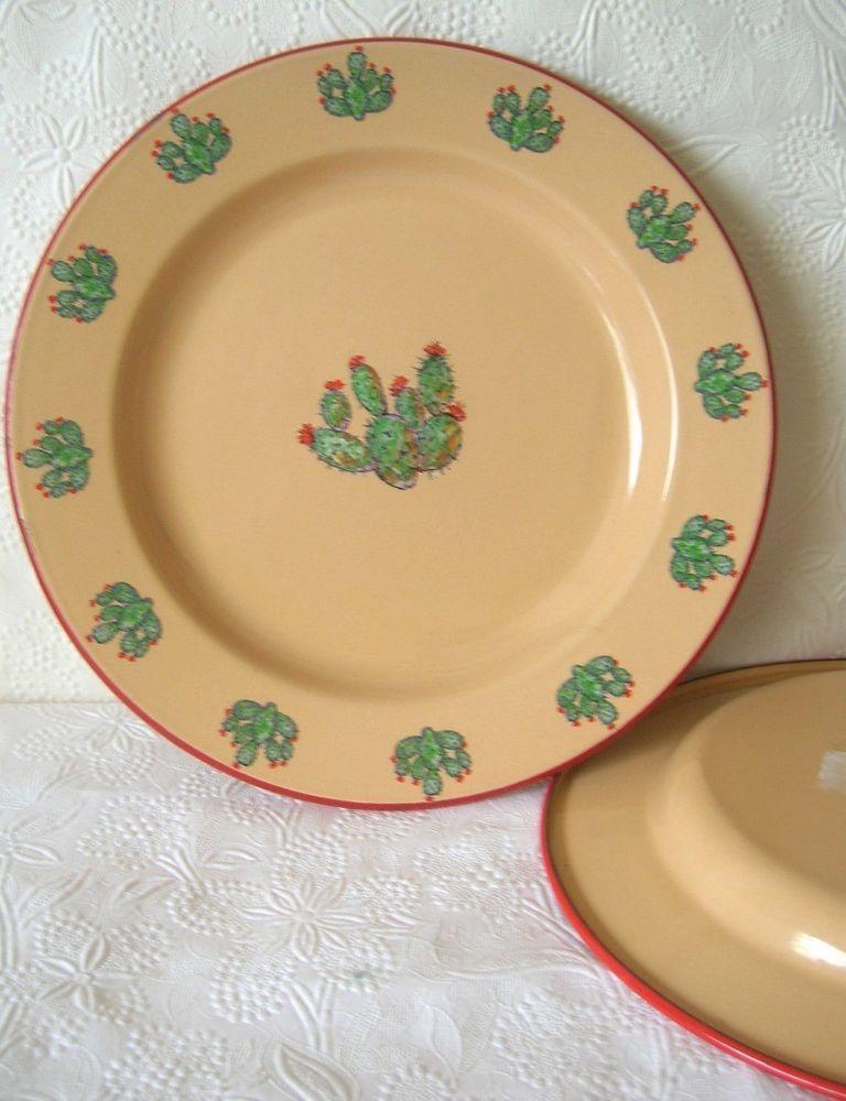 2 Marble Canyon Enamel Dinner Plate Western Cactus 10 Inch Plates Dinner Plates Marble Canyon