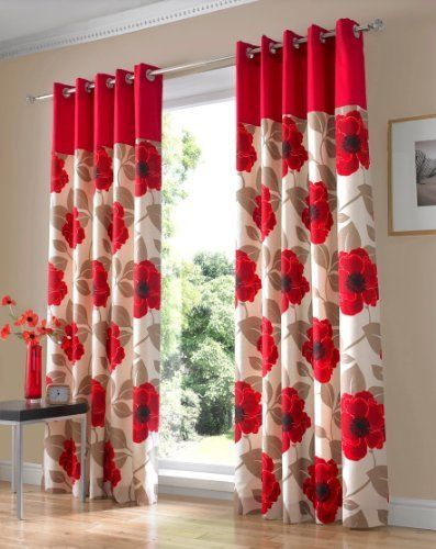 Harper Red Eyelet Curtains Fully Lined 90 X 229cm Printed CurtainsLiving Room