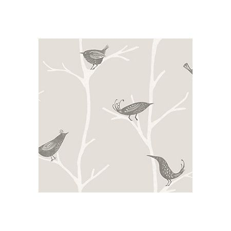 Arlo Charcoal Trees With Birds Wallpaper
