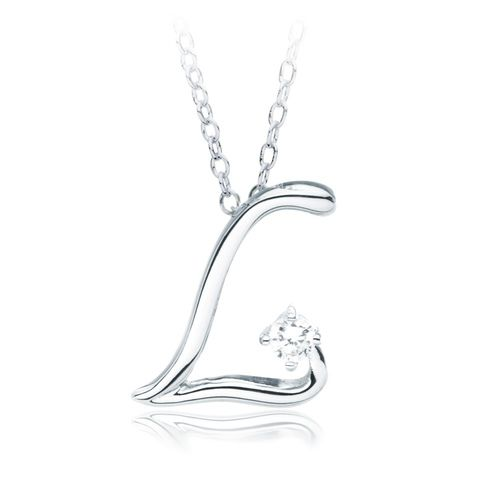 Letter L Name Initial Necklace with Cubic Zirconia Make a wish - celebration letter