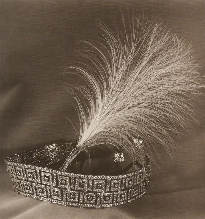 Queen Mary's Greek Key Aigrette Tiara, United Kingdom (ca. 1850-1900; diamonds, gold, silver, osprey feathers).
