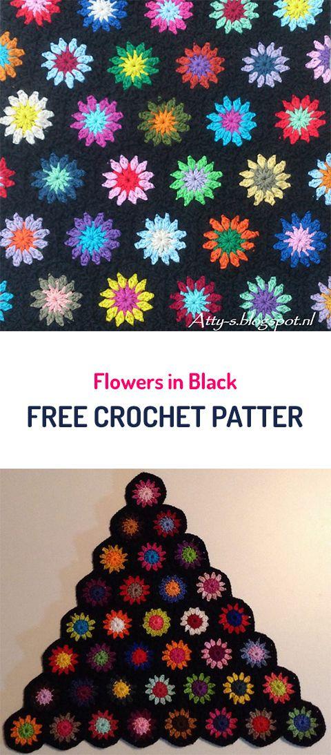 Flowers in Black Free Crochet Pattern #crochet #crocheting ...