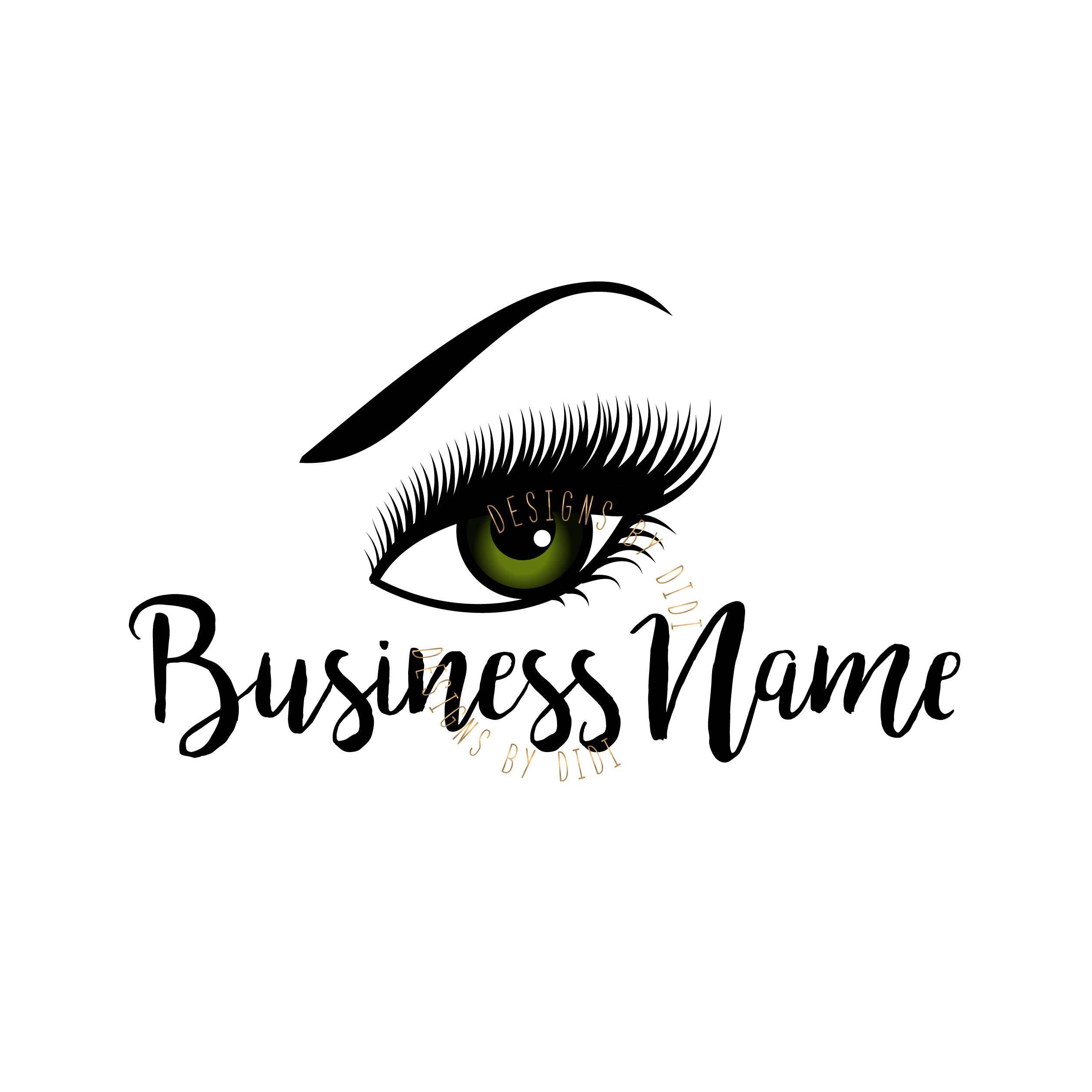 Custom logo, lashes logo, eyelash logo, cosmetics logo, green eye