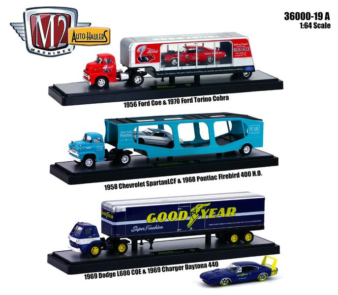 "Auto Haulers Release 19 ""A"", 3 Trucks Set 1/64 Diecast Models by M2 Machines - Brand new 1/64 scale die cast models of Auto Haulers Release 19 ""A"", 3 Trucks Set 1/64 by M2 Machines. Limited Edition. Brand New Box. Has Rubber Tires. Metal Body and Chassis. Detailed Interior, Exterior. Officially Licensed Product. Comes in plastic display showcases. Set Includes:. 1 ) 1956 Ford COE & 1970 Ford Torino Cobra - This set features a vintage drag race/show car theme. The '56 Ford COE, trailer, and…"
