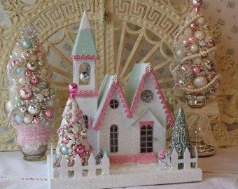 Iglesia Putz w / cepillo de botella Árboles - color de rosa lamentable y aqua - ENCENDIDA