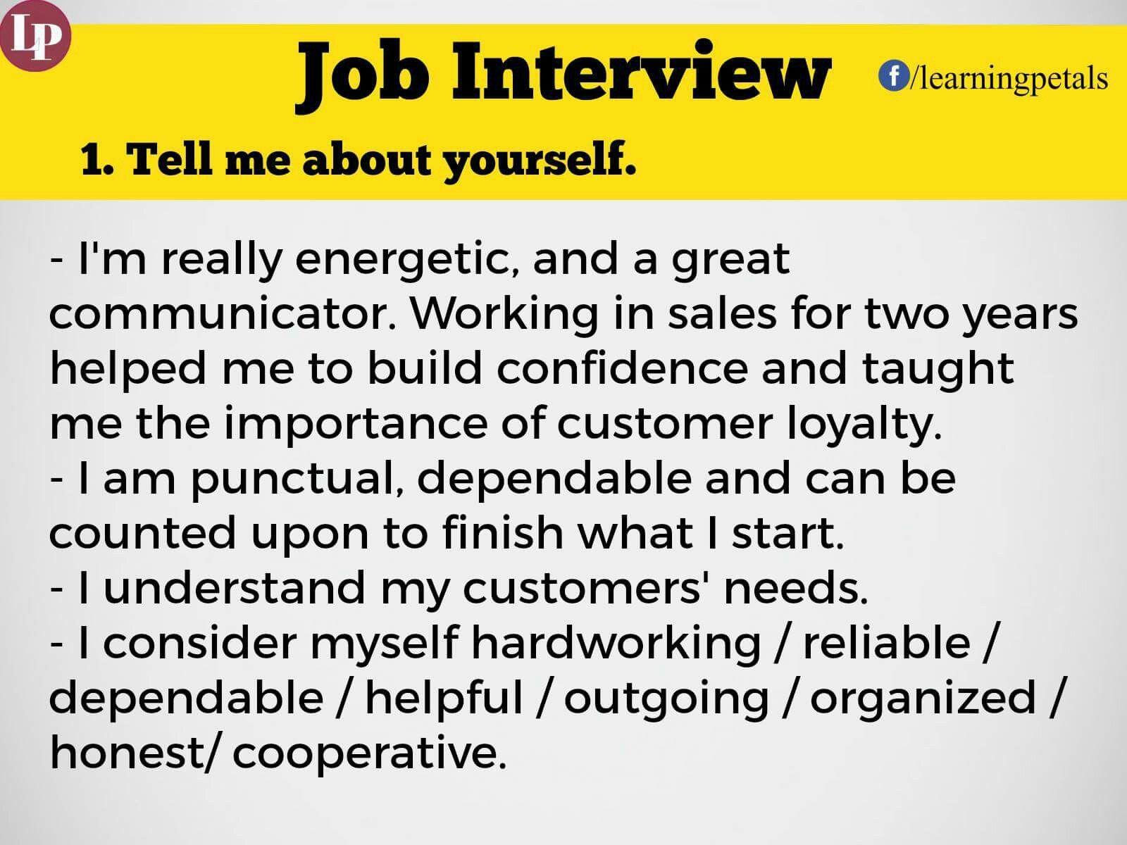 Tell Me About Yourself Job Interview Job Interview Answers