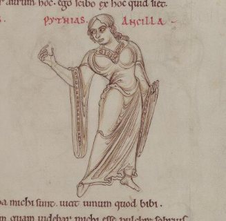 1150 - Terence's Comedies, in Latin, with Romanesque drawings. 54r