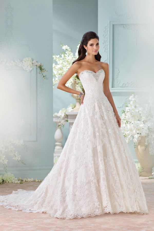 David Tutera for Mon Cheri Strapless Lace Gown | Buyable Pins ...