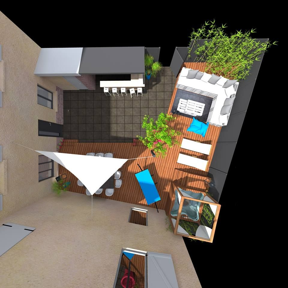 Gut bekannt Aménagement cour intérieur, terrasse, jacuzzi, spa, espace repas  NG38