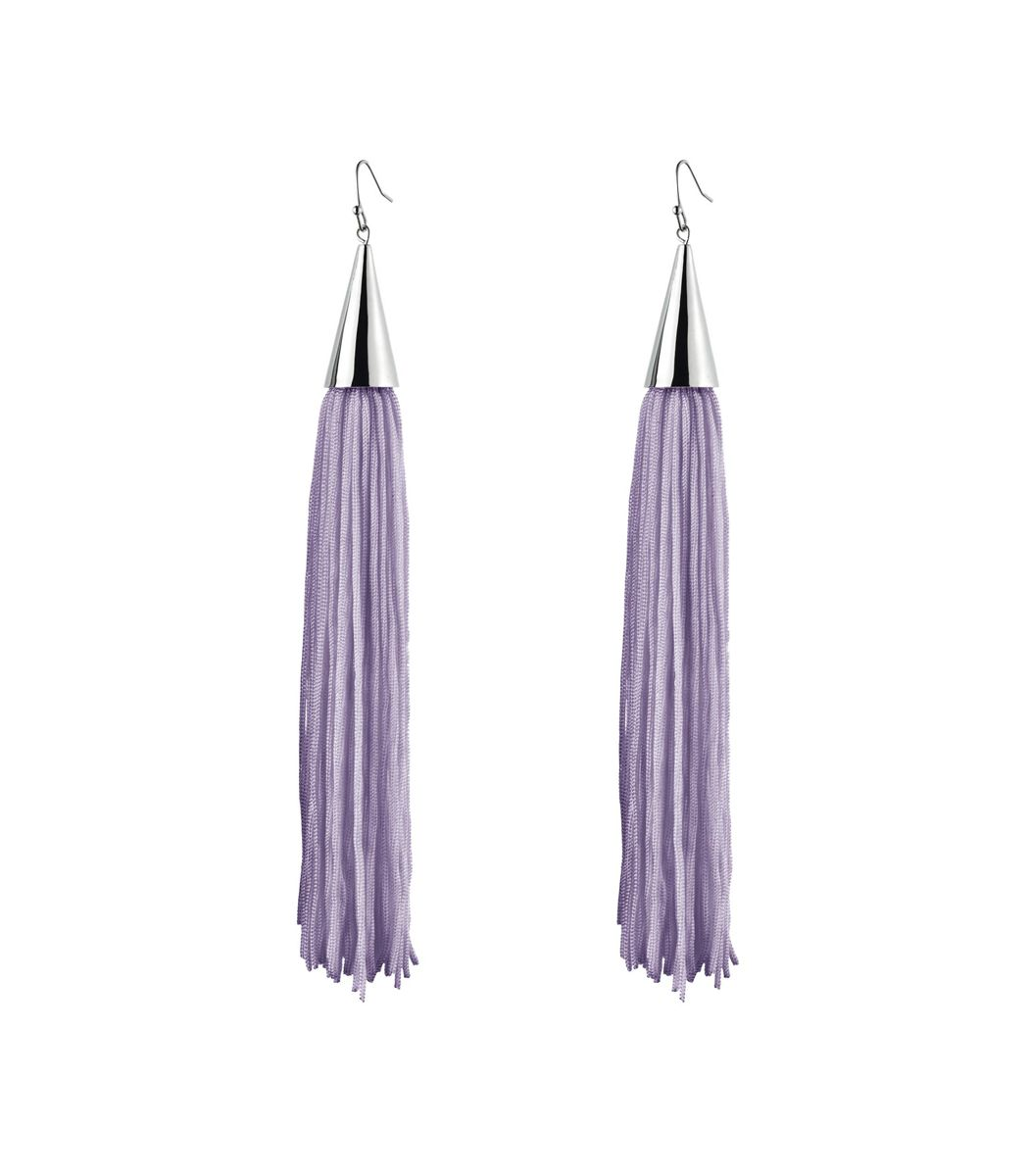 Feminine Summer Fashion on #ShopBAZAAR: Eddie Borgo Lavender Silk Cone Tassel Earrings