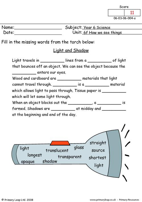 Science Light and shadow Worksheet PrimaryLeap.co.uk