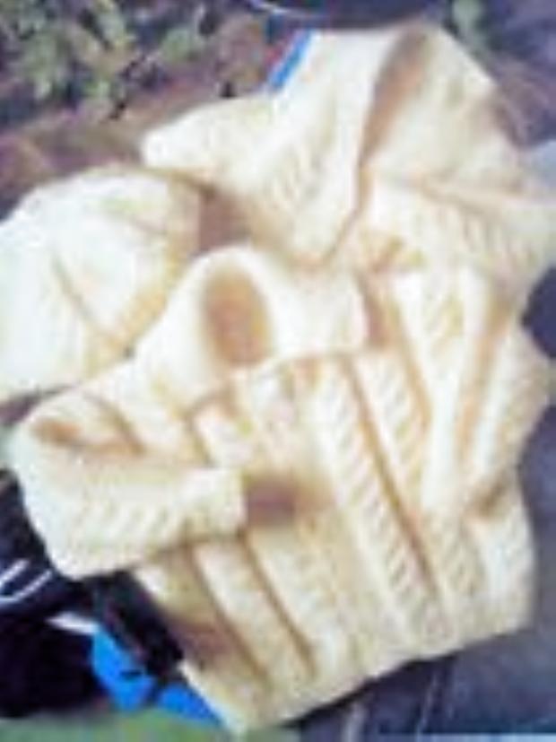Photo of Aran Baby Sleeping Bag Tassel/Hood – Button Sides 0 – 3 Months Knitting Pattern …
