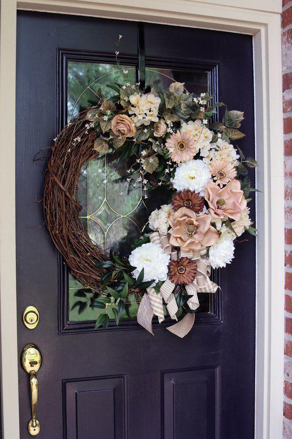 Front Door wreath with Magnolias, Shabby Chic Decor, Large Double Door Magnolia wreath, Spring Door wreath, Farmhouse wreath, Rustic Country #doubledoorwreaths