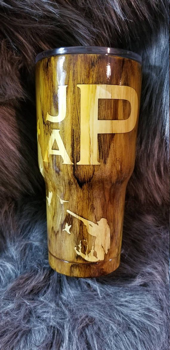 Yeti Coffee Thermos: Wood Grain Hunter And Flying Duck Tumbler Or Flask Set