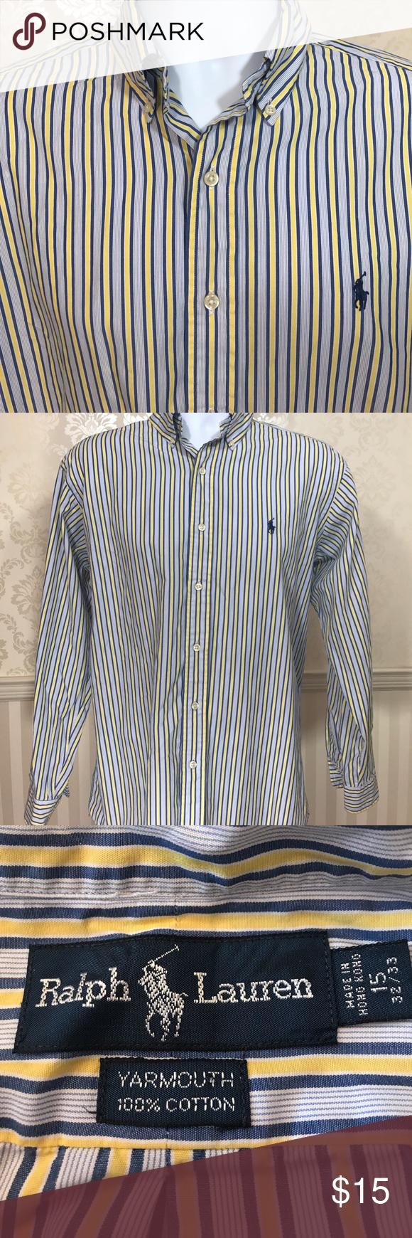 Yellow dress shirt men  Menus Ralph Lauren Striped Button Down Shirt  Blue yellow