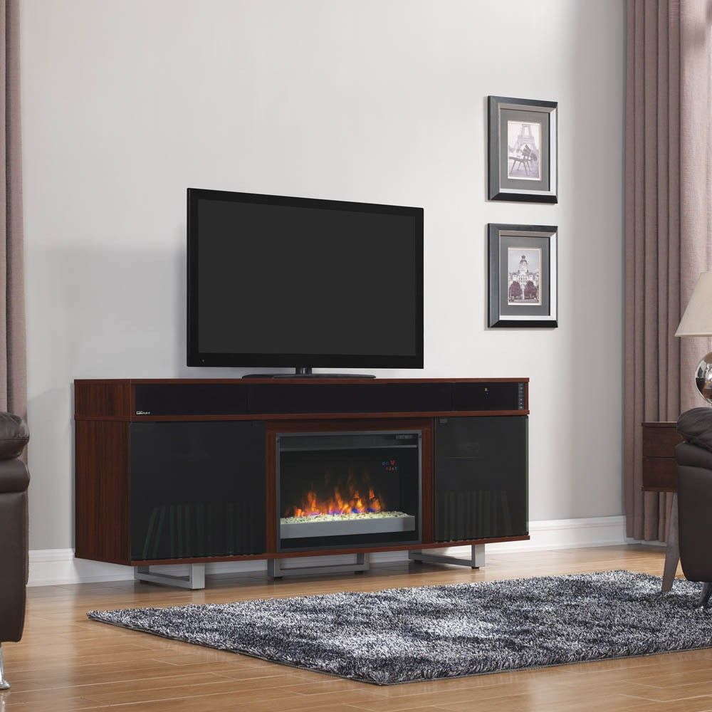 Fireplace amp tv stand in premium cherry finish with 23ef025gra electric - Enterprise Tv Stand In A High Gloss Cherry Finish A Classicflame Electric Fireplace And A Built In Bluetooth Speaker Bar This Would Look Great In My