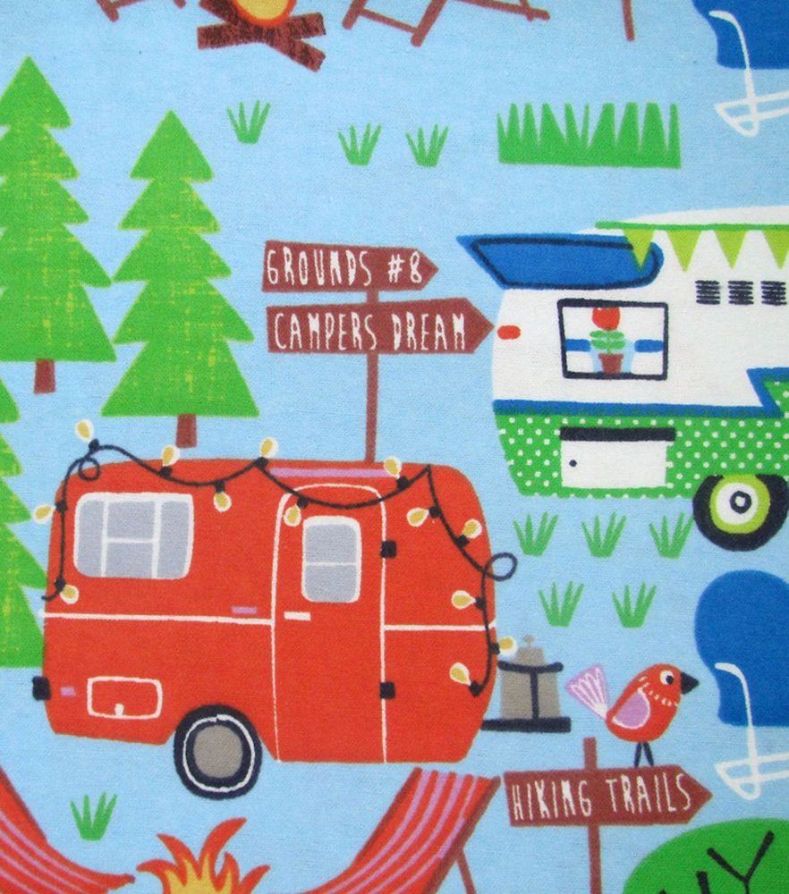 Camping Flannel fabric print trailer RV quilt print quilting sewing material 1yd  #camping, #camper, #rv, #trailer, #flannel, #quilt, #fabric, #material, #ebay, #store, #sale,
