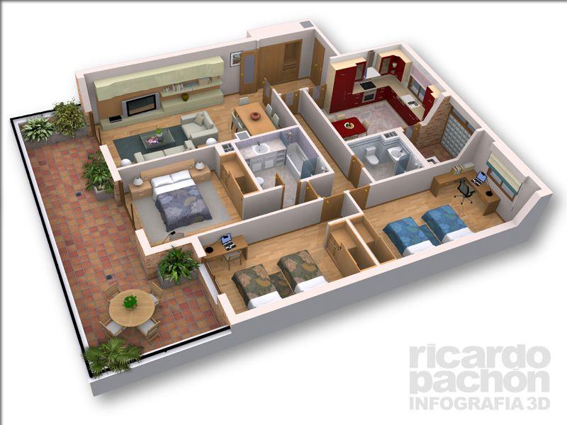 Infografia 3d vivienda en planta novice spanish for Infografia 3d