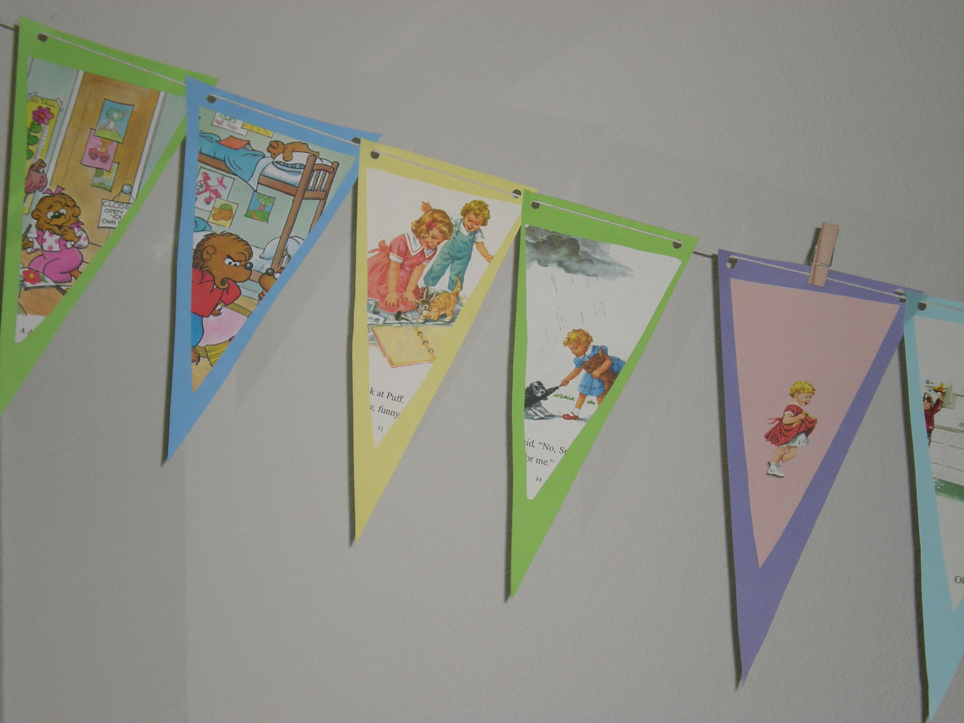 Scrapbook paper books - Made This Banner With Thrift Store Children S Books And Scrapbook Paper For My Son And Daughter