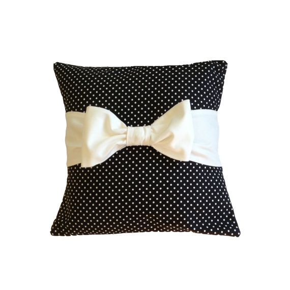 """Black Polka Dot 18"""" x 18""""  Pillow Cover with bow"""