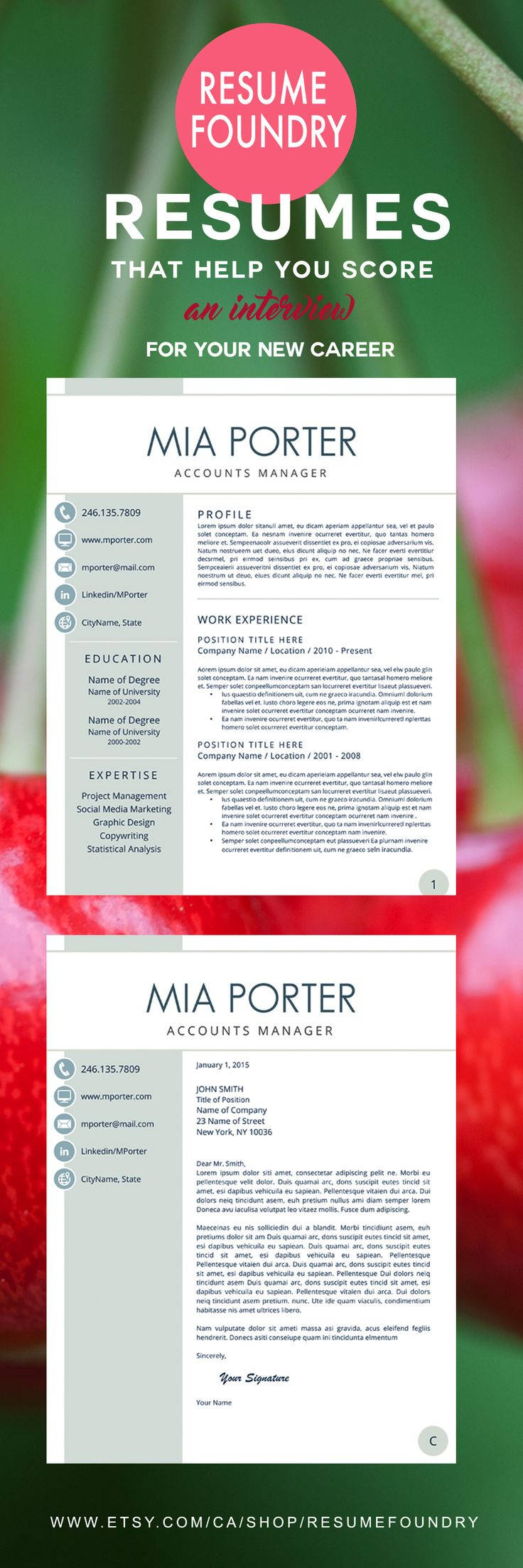Creative Resume Template for Word, 1-3 Page Resume + Cover Letter ...