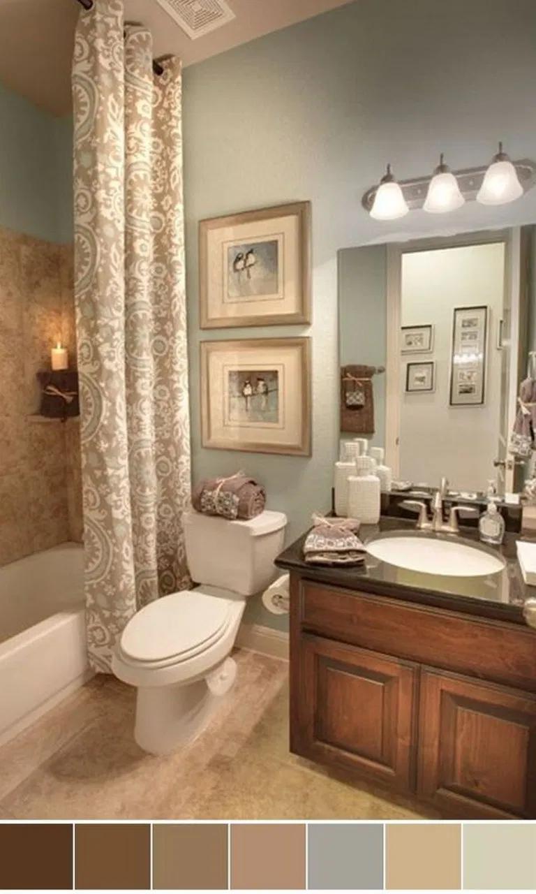 34 Unbelievable Rustic Bathroom Ideas In 2020 Bathroom Color Schemes Bathroom Color Small Bathroom Colors
