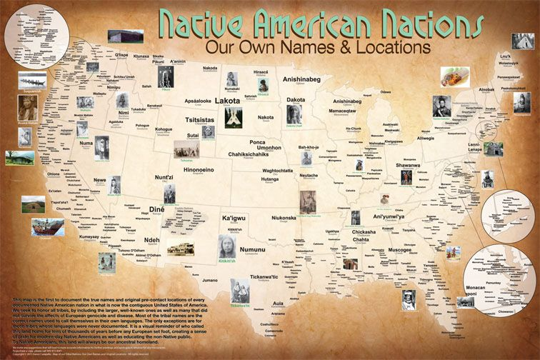 Native American map of Tribal Nations. This map presents every documented, known Native American tribe that was here in pre-contact time, before the arrival of Europeans.
